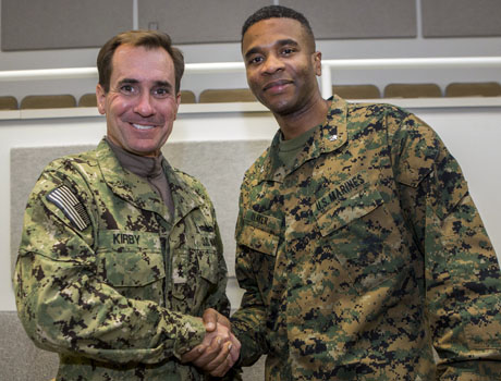 Col.(s) Ricoh Player, Public Affairs Officer, Marine Forces Command, Norfolk, visited II MEF Marines, Camp Lejeune recently in conjunction with a visit by Defense Secretary, Chuck Hagel.  During the visit he renewed acquaintances with Rear Admiral John Kirby, DOD Press Secretary.