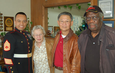 Members of the Los Angeles Chapter at the Bob Tallent annual Toys for Tots Drive. Left to Right GySgt. Sergio Jimenez, Mrs. Pauline Tallent (wife of Bob Tallent), Frank Lee, Tom Peters.